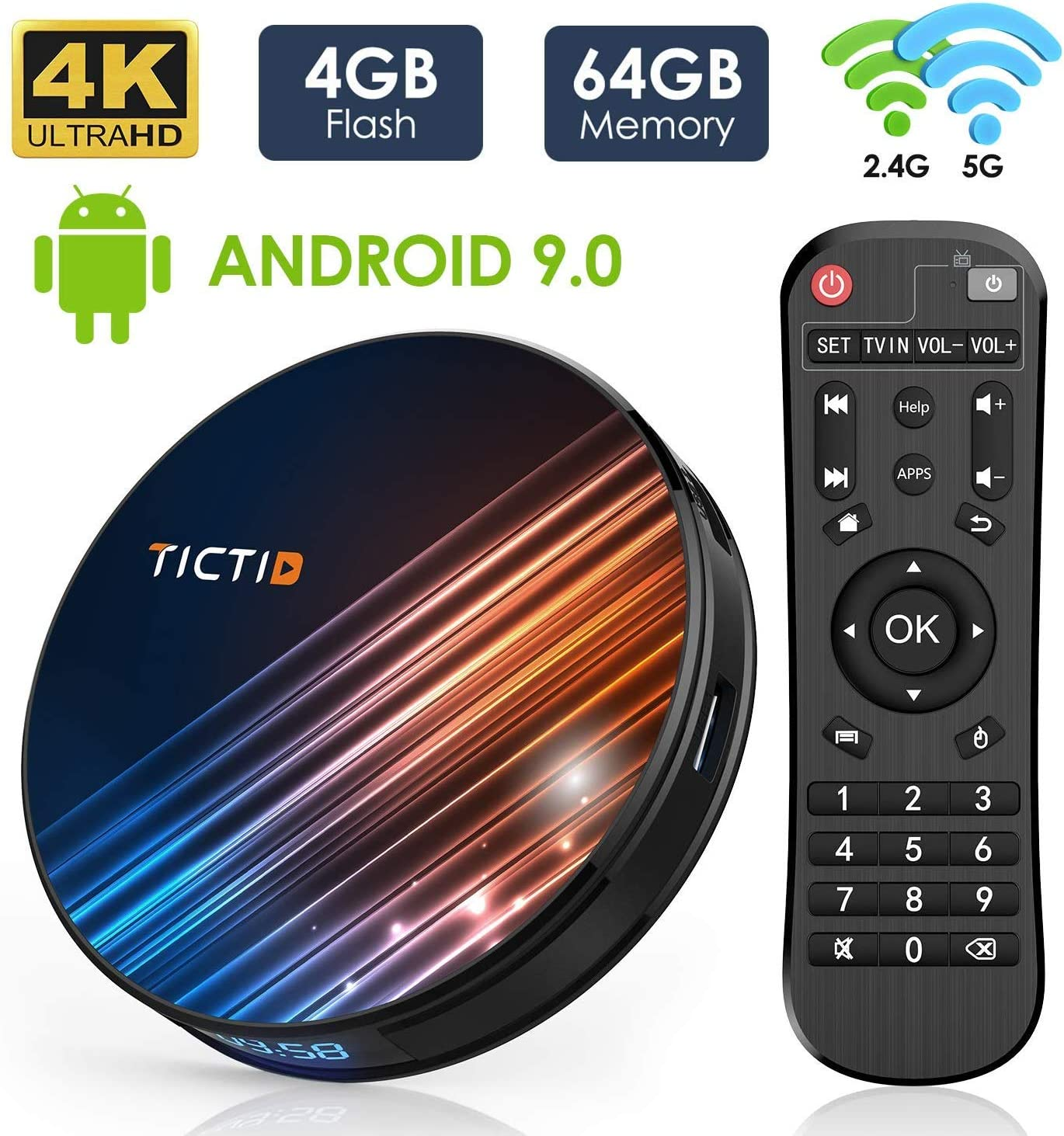 Android 9.0 TV Box 【4G+64G】 RK3318 Quad-Core 64bit Android TV Box, Wi-Fi Dual 5G/2.4G, BT 4.0, 4K*2K UHD H.265, USB 3.0 Smart TV Box: Amazon.es: Electrónica