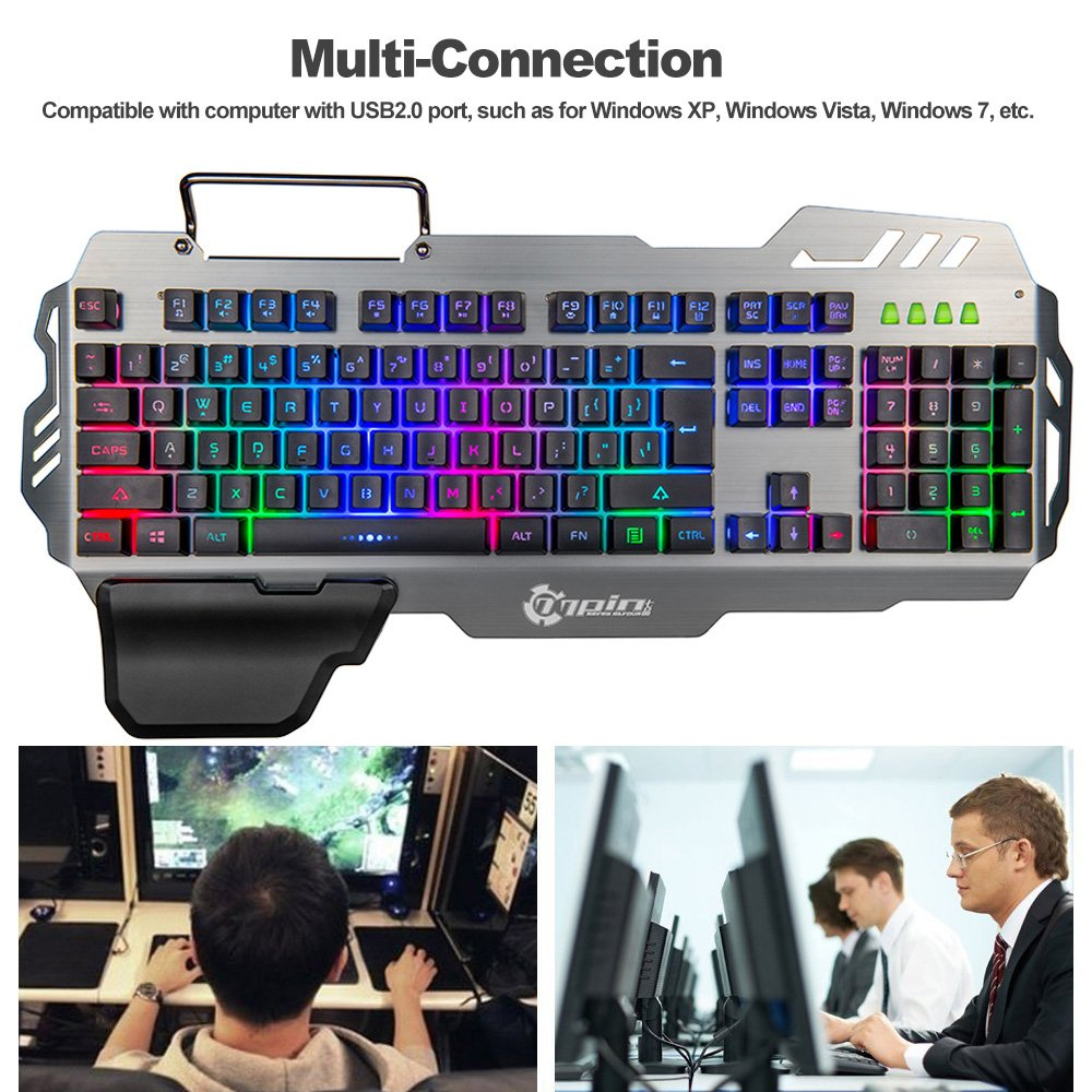 Doco OLER 7pin//PK 900/Gaming Keyboard LED Backlight Keyboard with Mobile Phone Holder Wrist Rest Silver