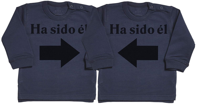 Spoilt Rotten SR - Ha Sido él & Ha Sido él - Conjunto Gemelo - suéter para bebé - suéter para bebé niño - suéter para bebé niña - Gris ES-SRT2_TW-SW