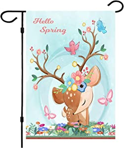 Spring Garden Flag,Hello Spring Flag Double Sided Welcome Burlap Seasonal Elk Spring House Flags 12x18 Inch Summer Yard Signs Outdoor Decor for Homes,Gardens, Patio or Lawn