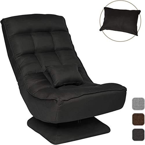 Folding Floor Gaming Chair for Home,Office w 360-Degree Swivel,Adjustable Video Game Chair Black