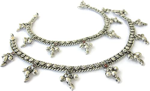 Indian Bollywood Gold Tone Flower Anklet Green Chain Payal Bridal Ethnic Jewelry