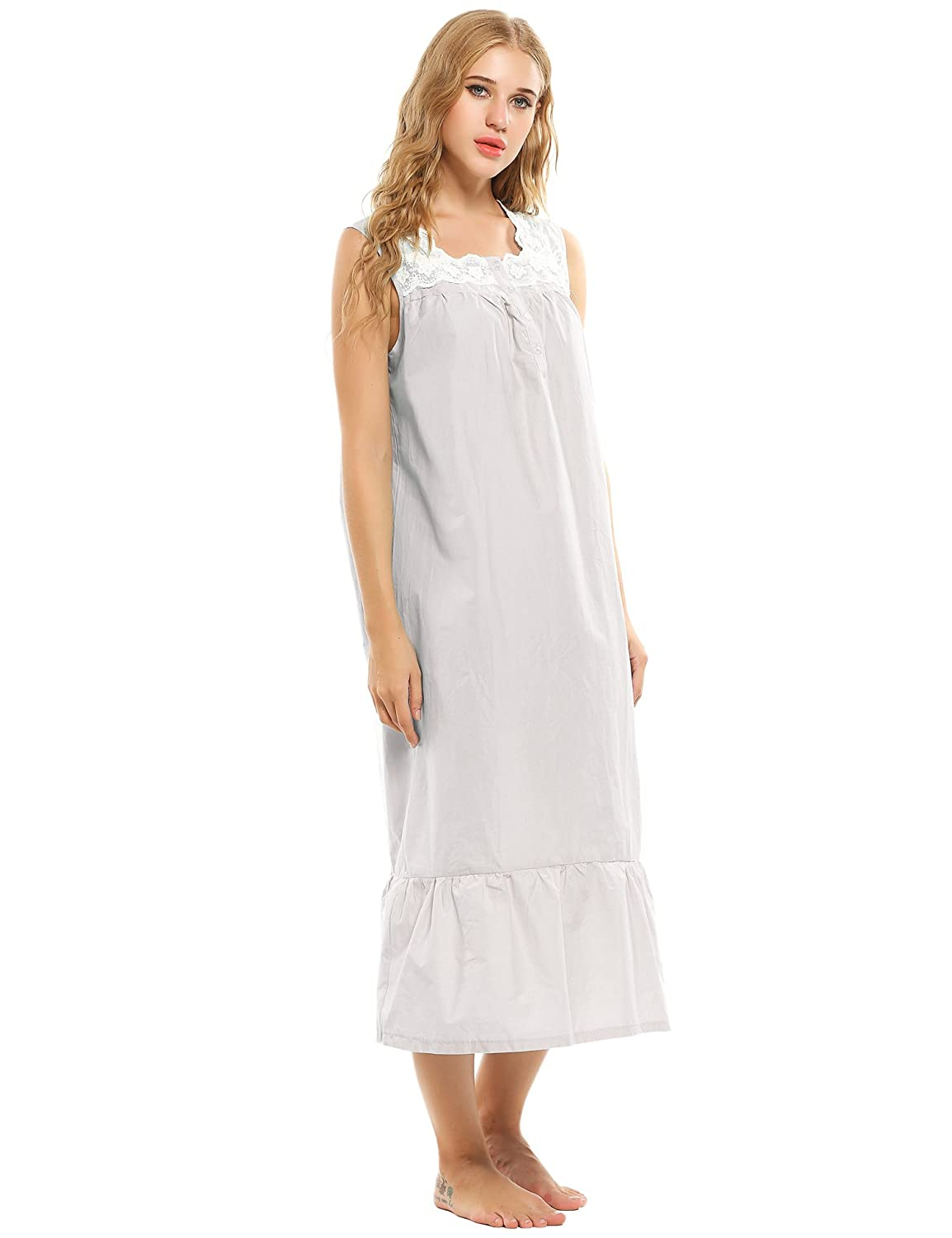 85195f11a0 Cooshional Ladies Nightgown Lace Cotton Nightdress Embroider Nightie  Sleepwear with Buttons Victorian Style  Amazon.co.uk  Clothing