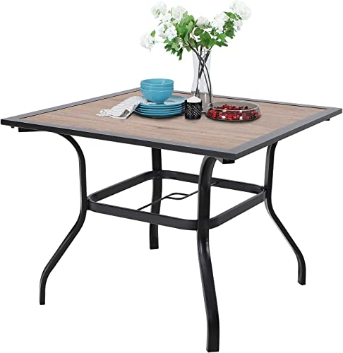 Sophia William Outdoor Dining Table with Umbrella Hole 37 x 37 Metal Table for Lawn Patio Pool Sturdy Metal Steel Frame with Wood-Look Table top