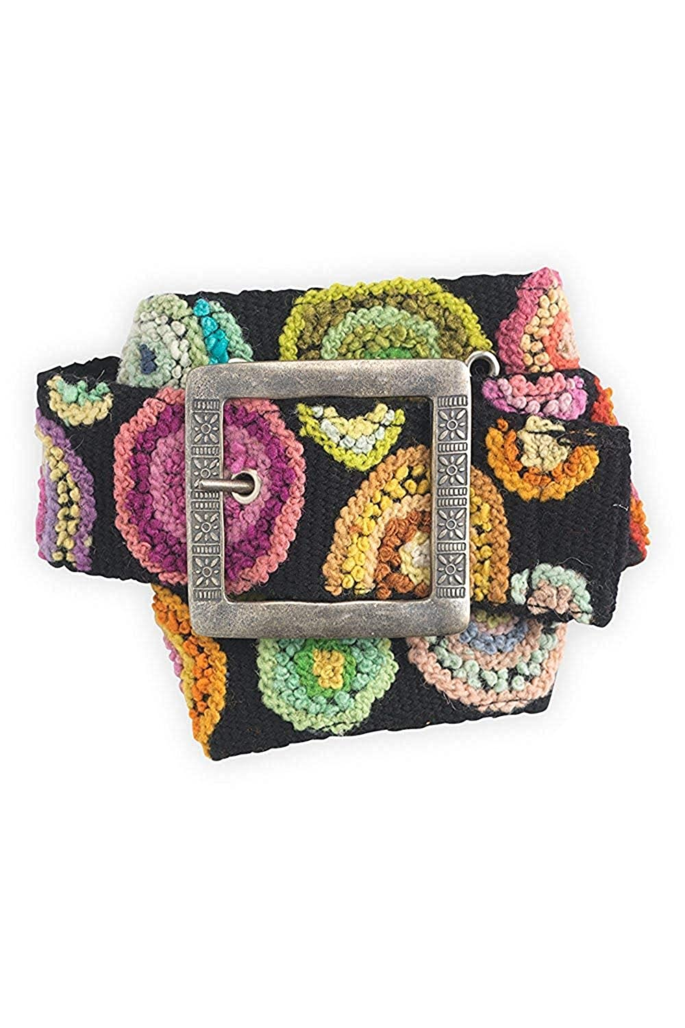 Tey-Art Circle Me Hand Embroidered Wool Fair Trade Belt (並行輸入品) B07DY8R9MK One Color S (23-31)