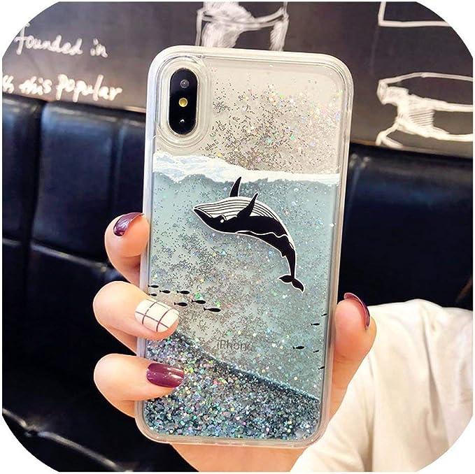 Cover per iPhone 8 e 8 Plus, con glitter e squalo, per Coque ...