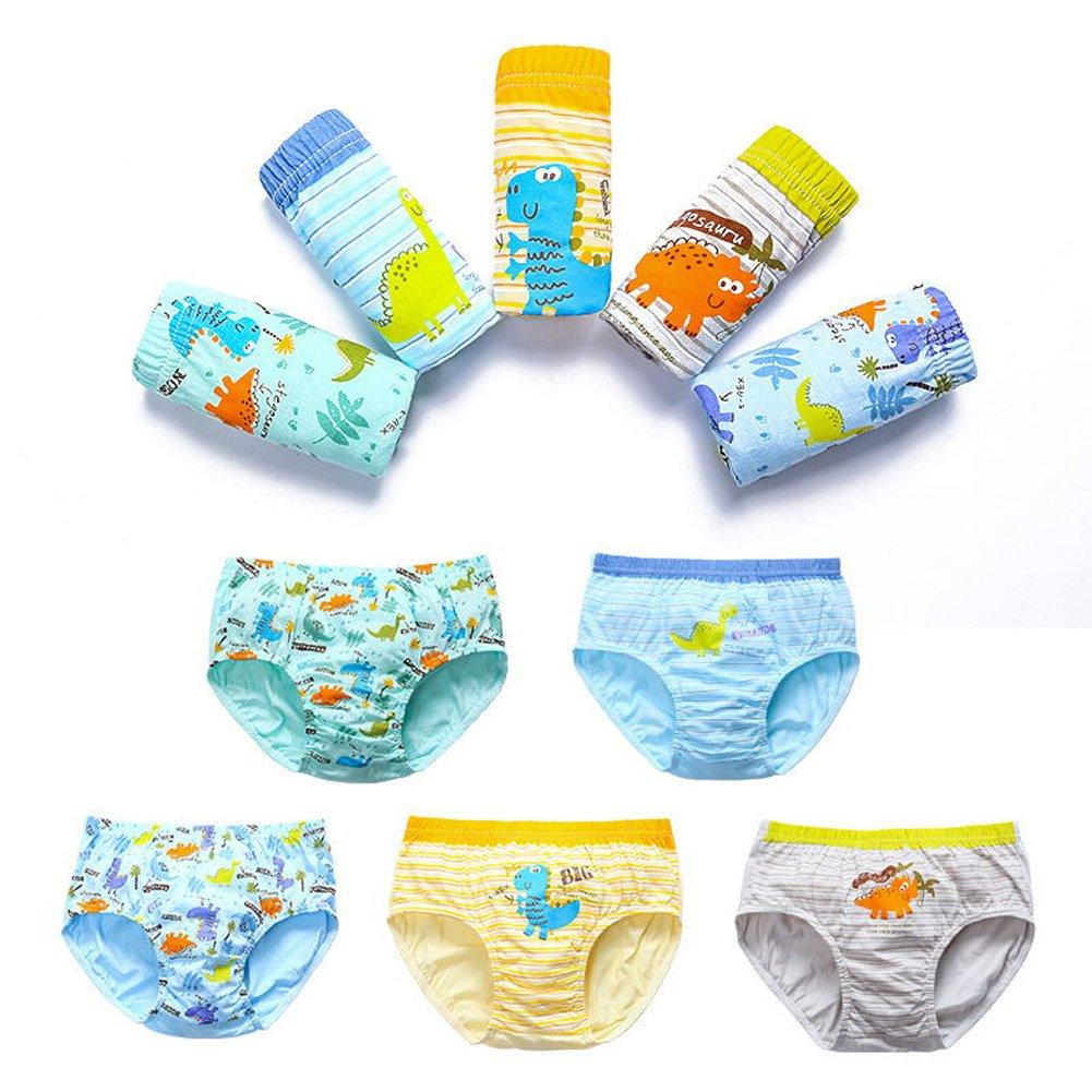 CHUNG Little boys Toddlers Cotton Briefs Underwear Animal Dinosaur Car 5 Pack 3-7Y