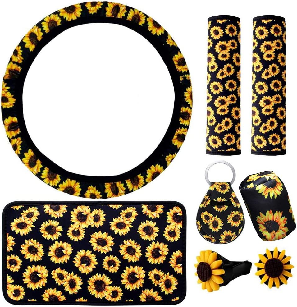 8 Pieces Sunflower Car Decor Accessories Set For Women, Sunflower Floral Printed Steering Wheel Cover, Center Console Armrest Cover Pad, Gear Shift Konb Cover, Keyring, Car Vents, Car Seat Belt Covers