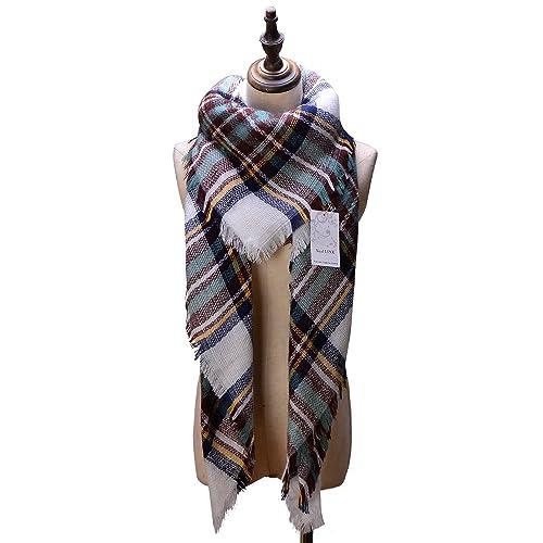 Women's Cozy Tartan Blanket Scarf Wrap Shawl Neck Stole Warm Plaid Checked Pashmina