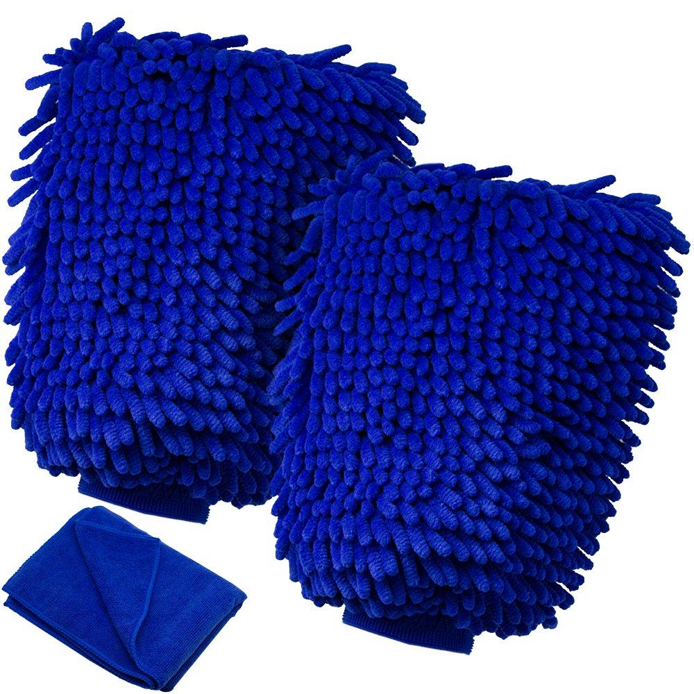 プレミアムマイクロファイバー洗車ミット、Kasonic Extra Largeマイクロファイバー洗車用ミット[ 2パック] with a Free Polishing Cloth、最高密度 X-Large ブルー CW-01 B075R33ZH2  2Pack