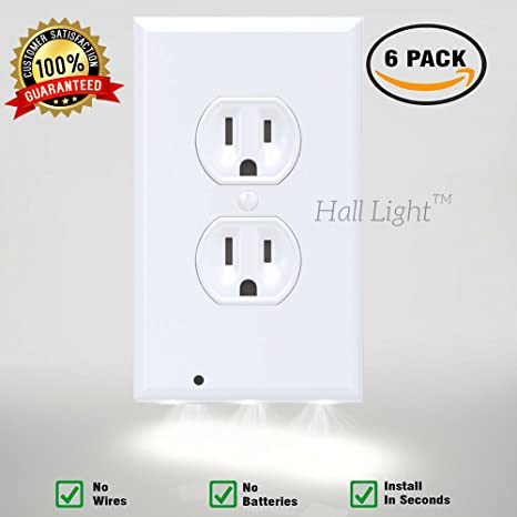 Led night light wall outlet duplex cover 6 pack hallway lights led night light wall outlet duplex cover 6 pack hallway lights bathroom bedroom aloadofball Choice Image
