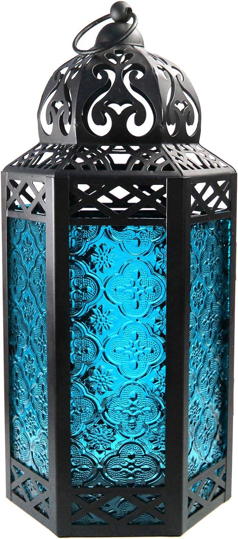 Vela Lanterns Moroccan Style Candle Lantern with LED Lights, Large, Blue Glass
