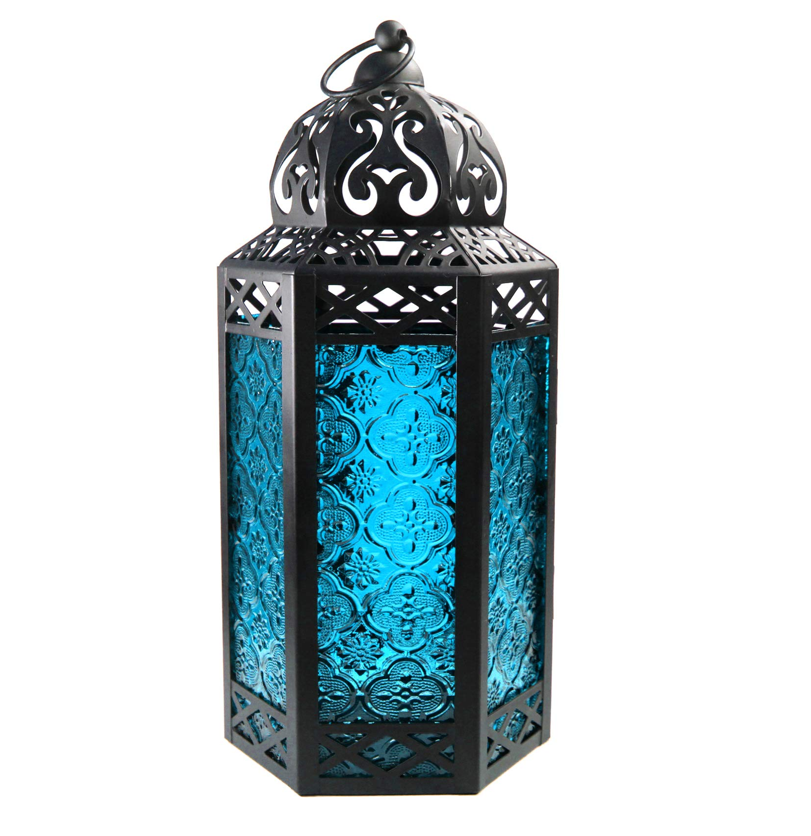 Large Moroccan Candle Lantern with Blue Glass