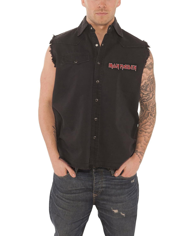 Iron Maiden Trooper Official Mens New Black Sleeveless Work Shirt