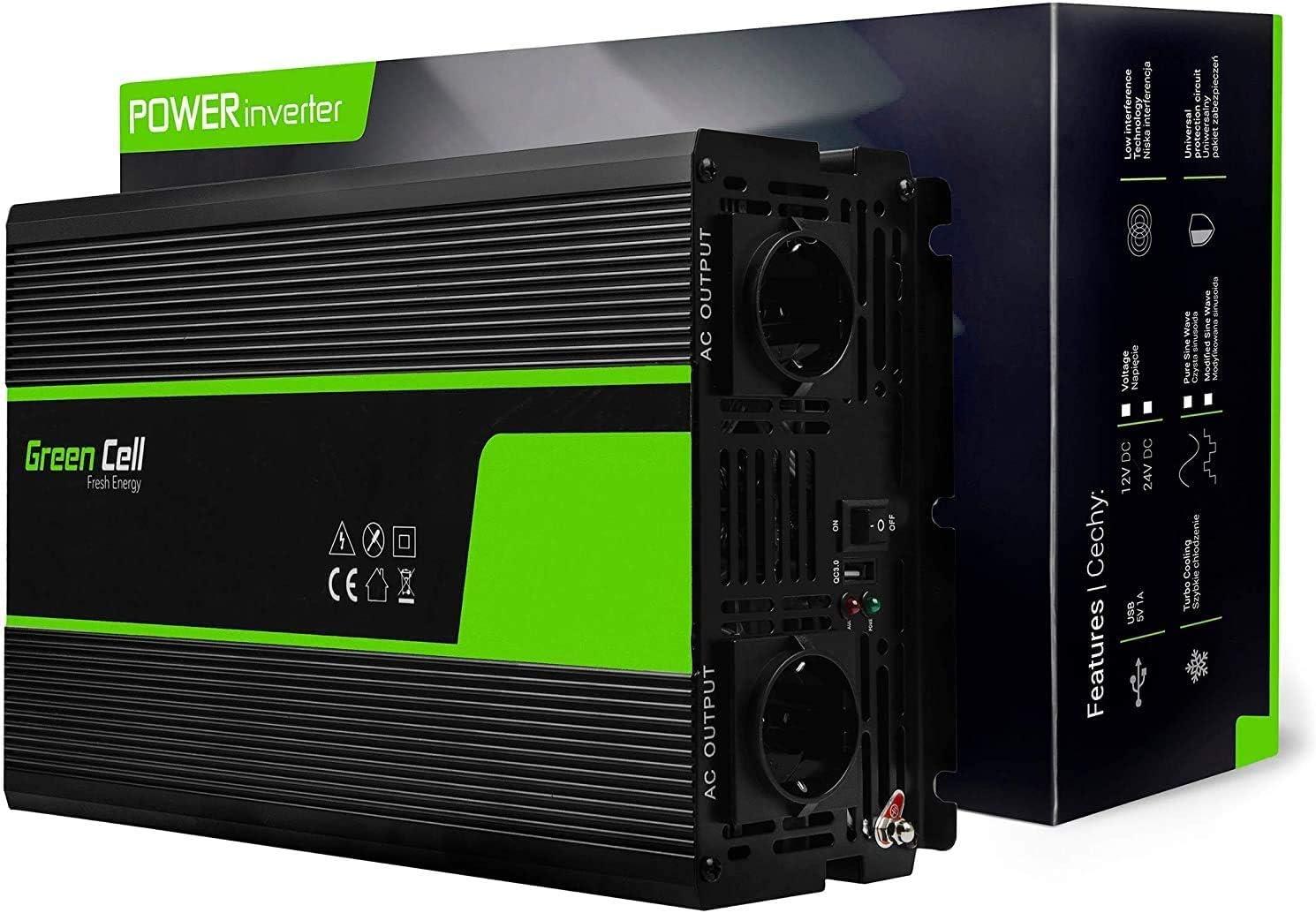 Green Cell® 1500W/3000W Onda sinusoidal modificada Inversor de Corriente Power Inverter DC 24V AC 220V, Transformador de Voltaje para Coche con Puerto USB y Pinzas de conexión a batería