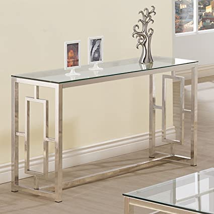 Charmant Console Table For Entryway Glass Top Modern Hall Room Furniture Metal Base  Foyer Decor