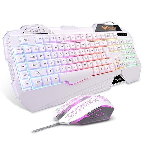 d5e072436c3 Havit Keyboard Rainbow Backlit Wired Gaming Keyboard Mouse Combo, LED 104  Keys USB Ergonomic Wrist