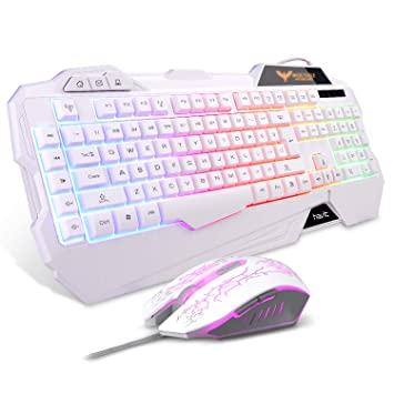 c0db6a3255a HAVIT Rainbow Backlit Wired Gaming Keyboard and Mouse Combo (White):  Amazon.ca: Electronics