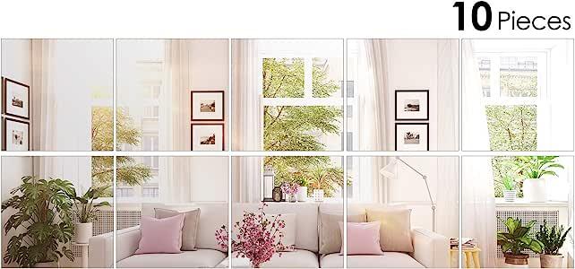 Amazon Com Bbto 10 Pieces Mirror Sheets Self Adhesive Non Glass Mirror Tiles Wall Sticky Mirror 6 X 6 Inch Home Kitchen