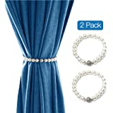 Lewondr Magnetic Curtain Tieback, 2 Pieces Neat&Elegant Pearl Strand Holdbacks Curtain Button Buckle for Window Sheer and Blackout Draperies, with Sparkling Crystal Buckle - Beige
