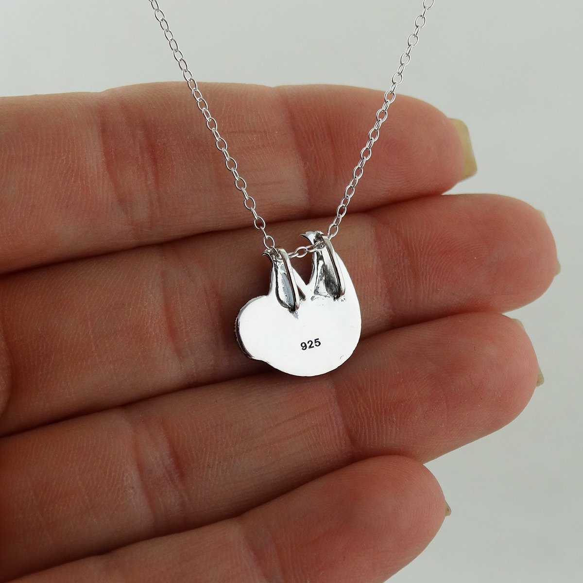 f9f4eba0f05be3 Amazon.com: Sterling Silver Textured Sloth Slider Pendant Necklace, 18