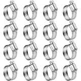 Winlong Stainless Steel Hose Clamps - 16 Pack Worm Gear Drive Hose Clamp All 300 Stainless Steel Pipe Clamps SAE 10…