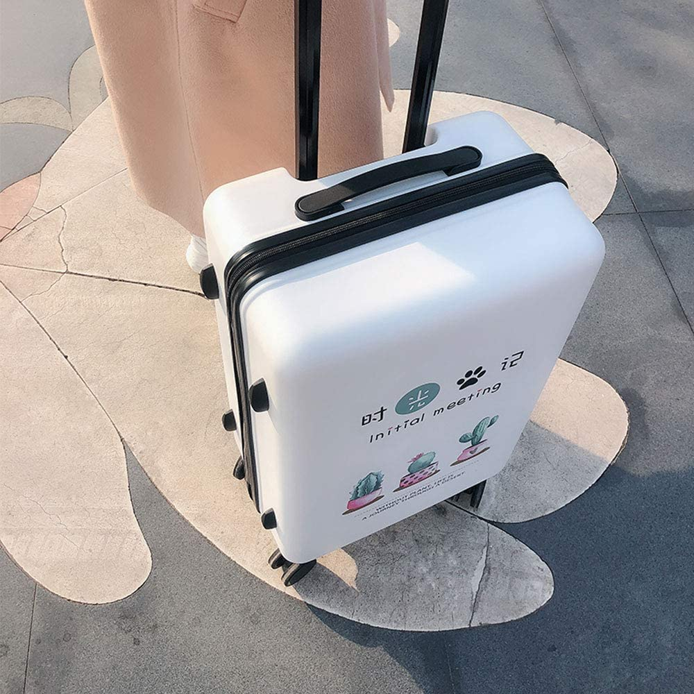 ABS//PC TSA Custom Code Lock 5 Patterns Optional Multi-functi MING REN Luggage Sets Trolley Case Small Fresh Student Creative Plant Travel Large Capacity Trolley Case Frosted Pearlescent Surface
