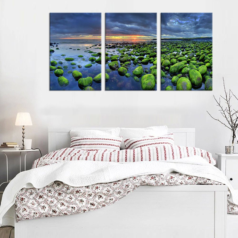 yearainn Canvas Wall Art Lake Dock Sunset Scenery with Flying Birds Picture Long Canvas Artwork Contemporary Nature Pictures Prints for Home Office Wall Decor 20 x 40 yart1h1220