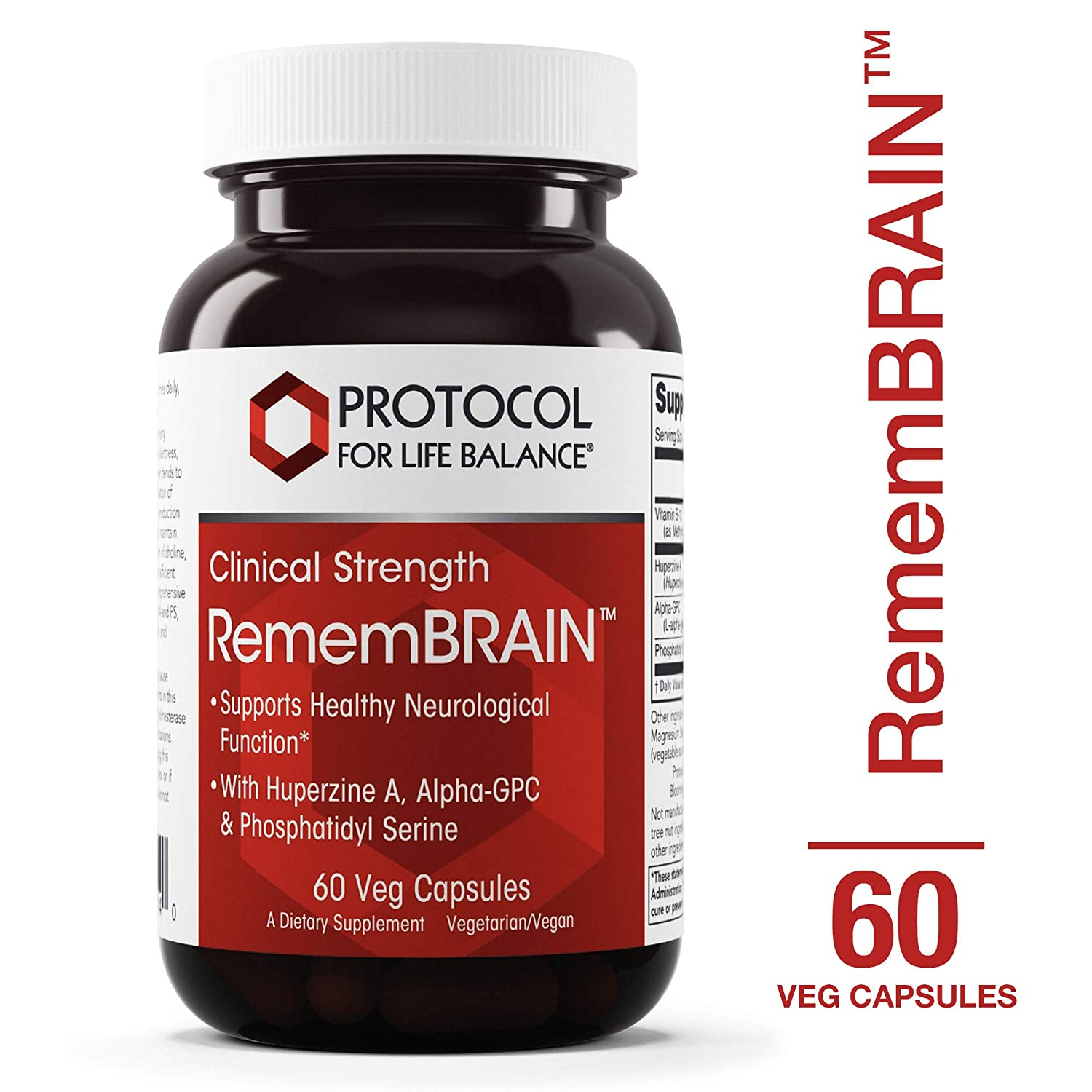 Protocol For Life Balance – RememBRAIN Clinical Strength – with Memorzine Huperzine A, Alpha-GPC Phosphatidyl Serine to Support Neurological Function – 60 Veg Capsules