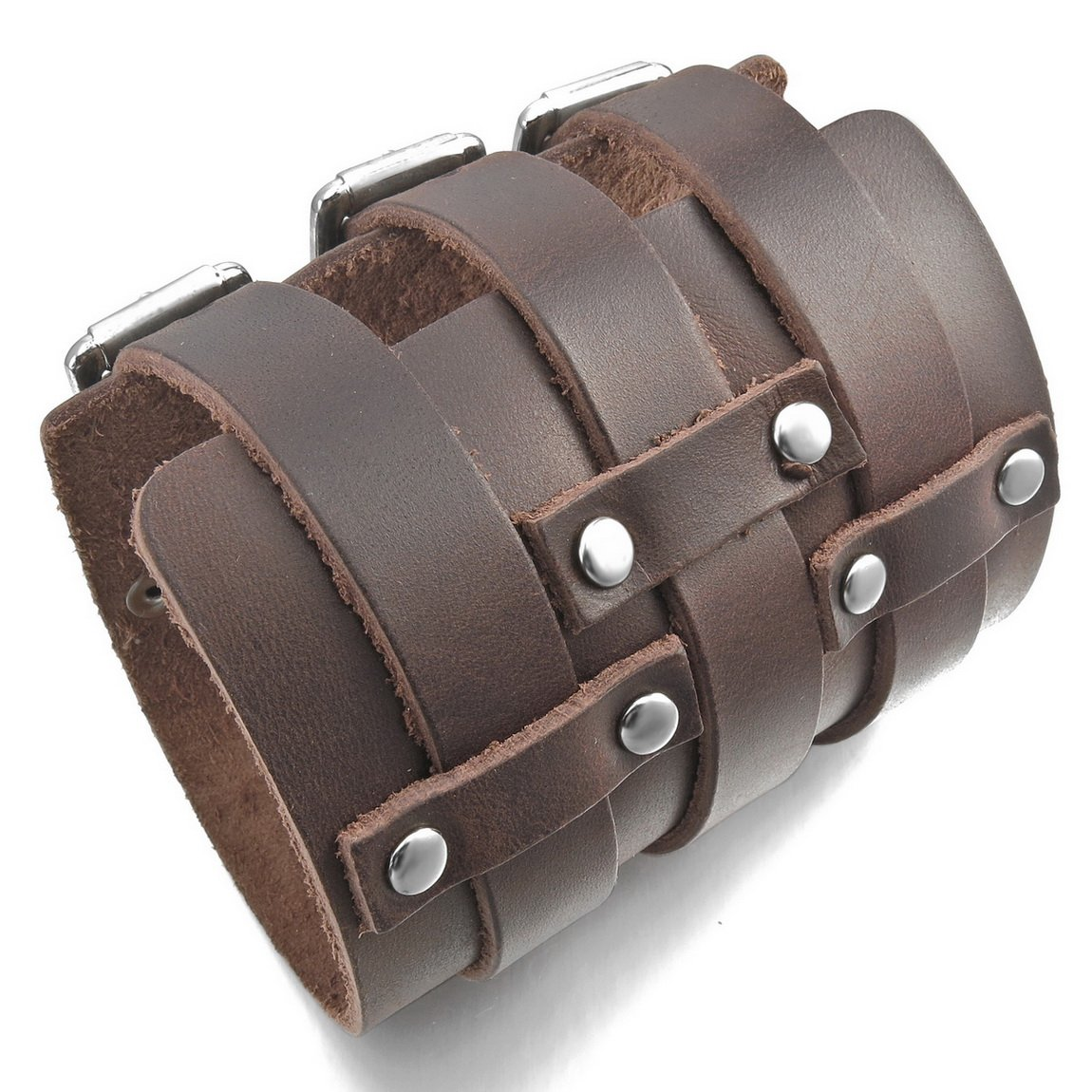 INBLUE Men's Alloy Genuine Leather Bracelet Bangle Cuff Silver Tone Brown Black Adjustable by INBLUE (Image #3)