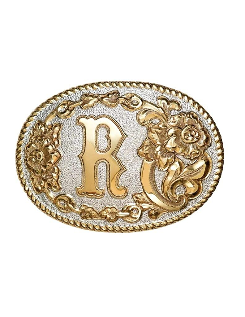Crumrine Western Belt Buckle Floral Oval Gold Silver C339