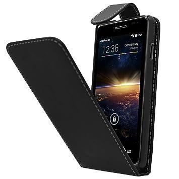 SAMRICK Especialmente Diseñado Maletín Abatible De Cuero Para Vodafone Smart 4 Turbo negro
