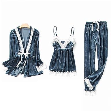 NOMSOCR Womens Soft Silky Fleece 3Pcs Pajamas Set Sexy Lace Sleepwear  Loungewear (M e35d41aa8