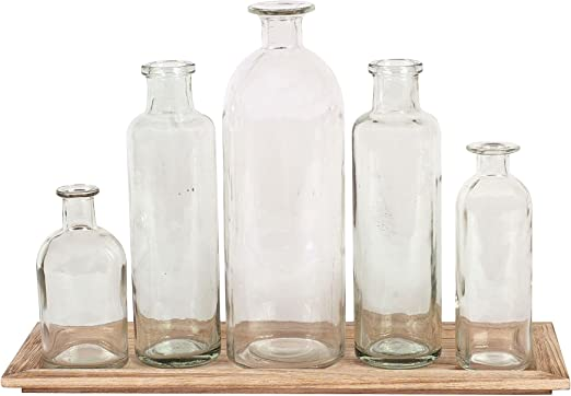 Amazon Com Creative Co Op Da2672 Set Of 5 Vintage Bottle Vases On Wood Tray Home Kitchen