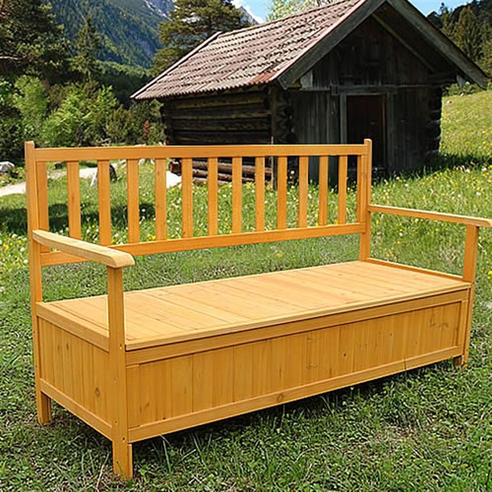 Wooden Outdoor Chest Bench Garden/Patio Furniture Storage Box Seater Melko 10000992