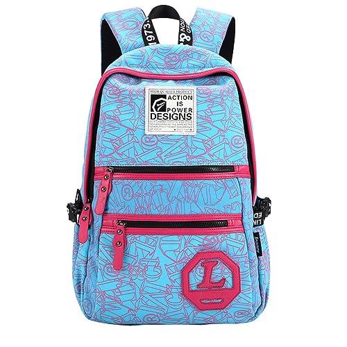 MingTai Mochilas Escolares Mochila Escolar Mujer Lona Grande Casual Backpack Chicas Multifuncional Oferta Mochilas Para Libros Bolsa Lienzo Cielo Azul: ...