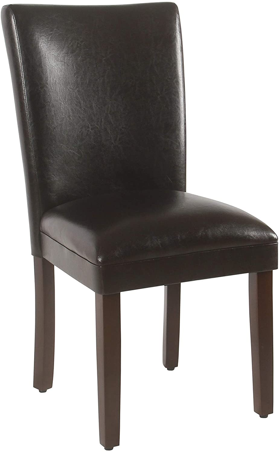 HomePop Parsons Upholstered Accent Dining Chair, Set of 2, Dark Brown Faux Leather - Chairs