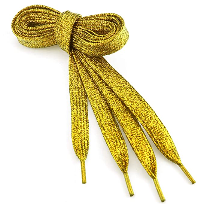 2d055e0f92462 TopTie Metallic Lurex Flat Shoelaces Fashion Bling Shoelaces