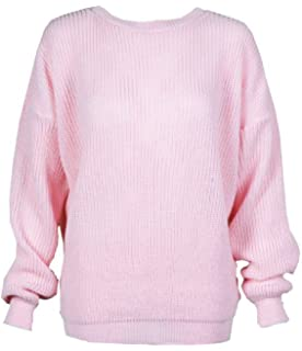 LADIES CELEB OVERSIZE BAGGY CREW NECK CHUNKY FISHERMAN KNIT TOP JUMPER L XL