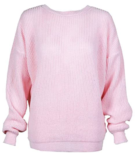 e7ee0e3cea2 H.A.A.S® Women s Knitted Plain Chunky Baggy Jumper Ladies Oversized  Fisherman Sweater Top
