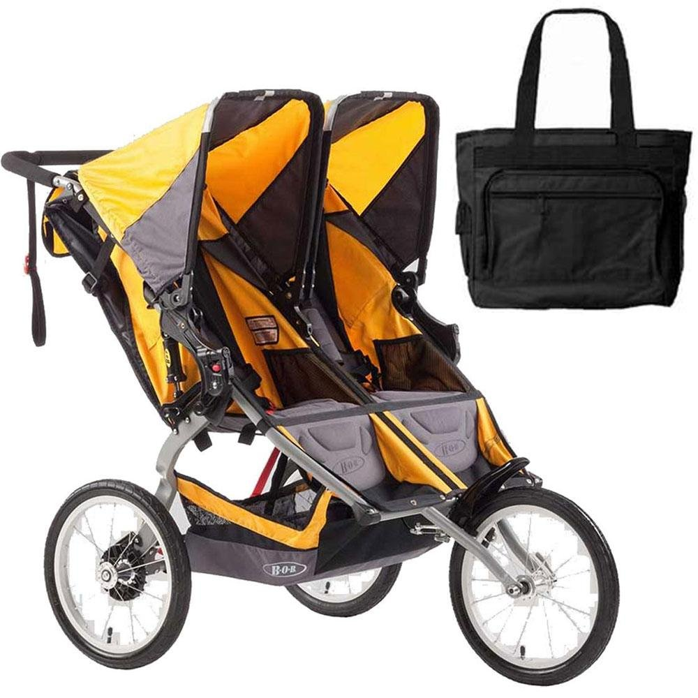 BOB Ironman Duallie Double Stroller with a diaper bag Yellow by BOB (Image #1)
