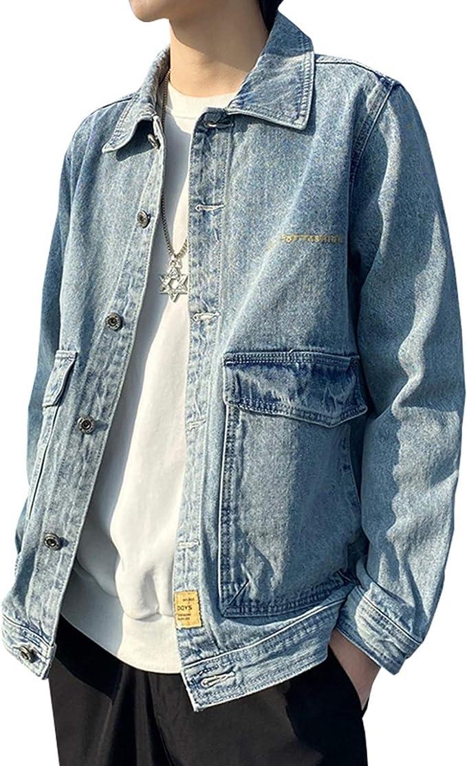 デニム ジャケット メンズ おしゃれ ヴィンテージ ゆったり ストレッチ 合わせやすい Gジャン ジージャン 春秋 防風 防寒 快適 ウォッシュ加工 大きいサイズ M-5XL ブラック/グレー