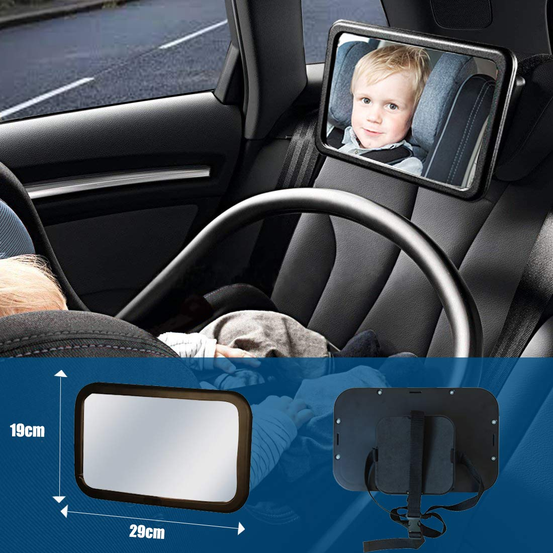 Baby Car Mirror Car Mirror For Baby Rear Facing Safety Car Seat Mirror Shockproof Baby Mirror For Car With Crystal Clear Peace Of Mind To Keep An Eye On Baby In