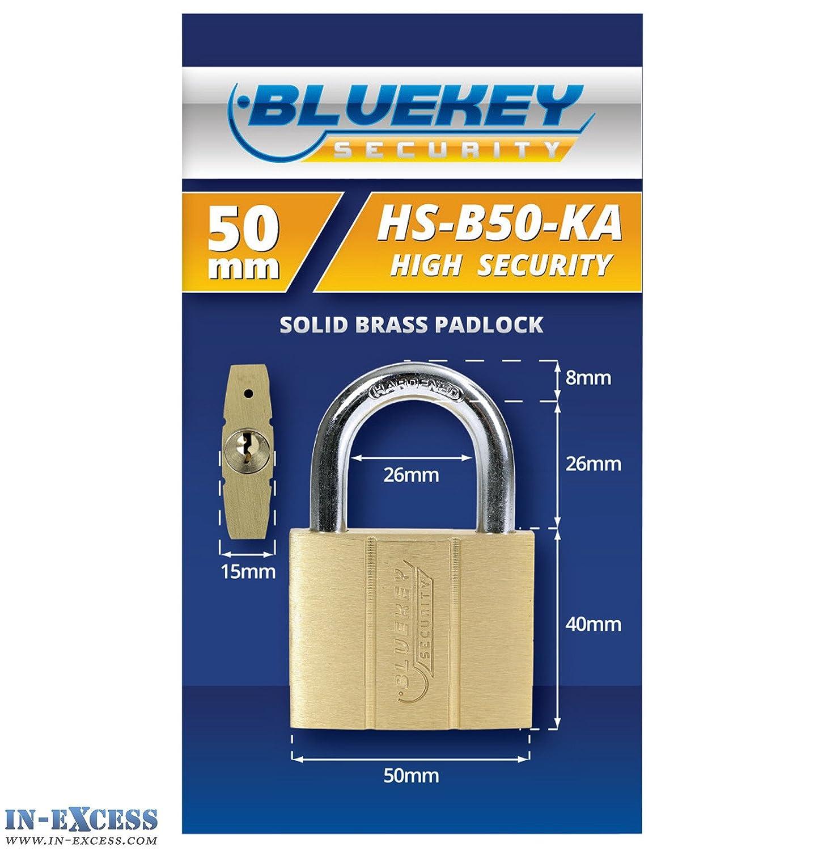 Bluekey Heavy Duty Stainless Steel Keyed Alike 50mm Padlocks HS-S50-KA QTY 5