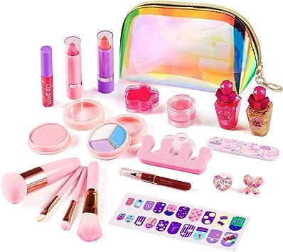 ARANEE 21PCS Juego de Maquillaje para niños para niñas, Kit de Juguete de Maquillaje Lavable con Bolsa de cosméticos con Purpurina: Amazon.es: Juguetes y juegos