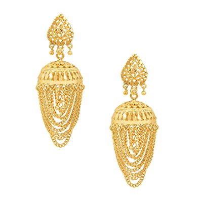 bc43427ed Buy Shining Jewel Traditional Gold 24K Brass Jhumka Earrings For Women  Online at Low Prices in India | Amazon Jewellery Store - Amazon.in