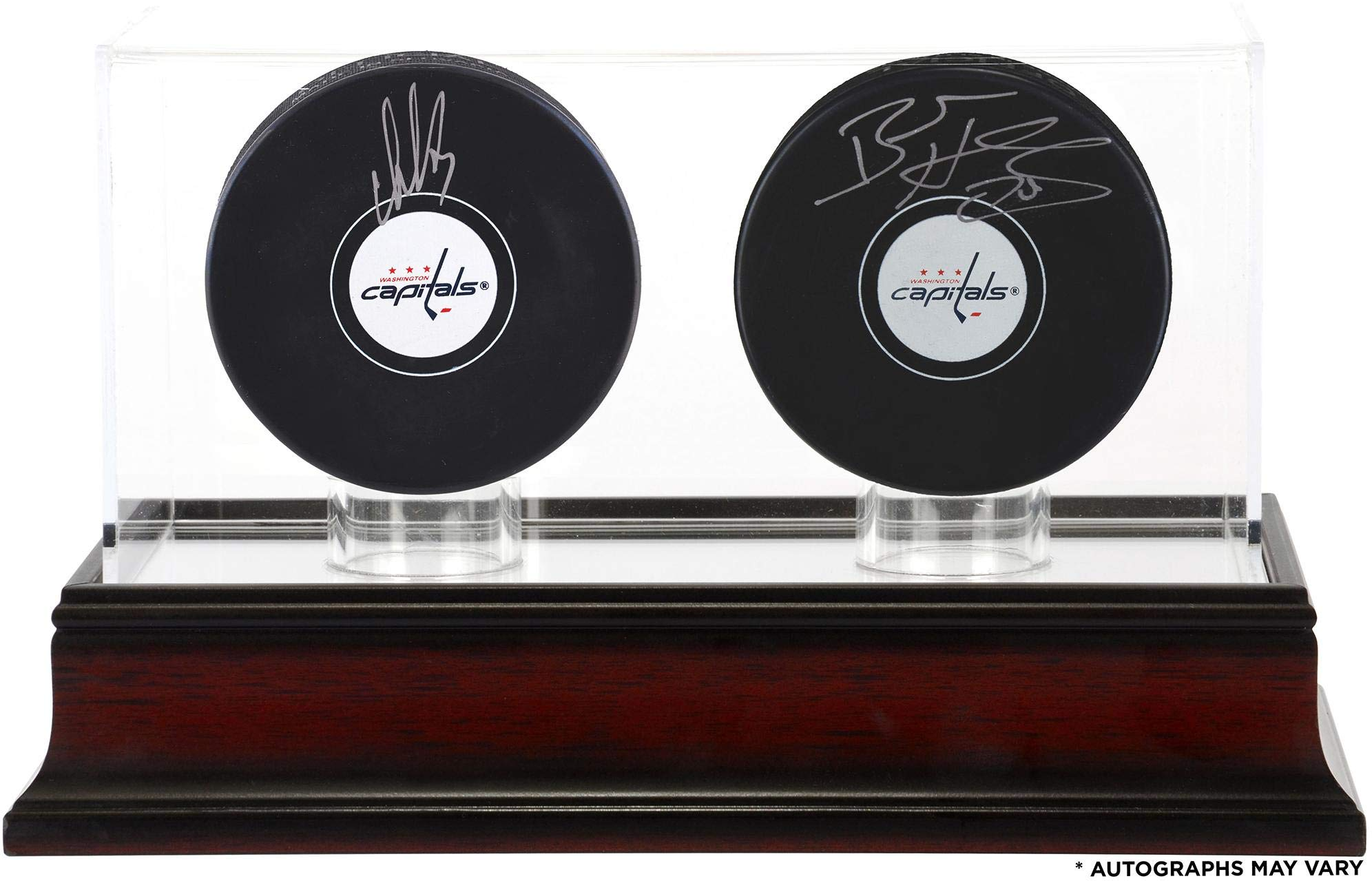Alex Ovechkin and Braden Holtby Washington Capitals Autographed Hockey Pucks with Mahogany Two Puck Case Fanatics Authentic Certified