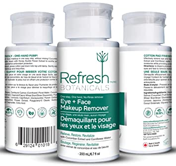 Amazon.com : Refresh Botanicals Natural and Organic Eye and Face Makeup Remover, Parabens free, Gluten free, Oil and Alcohol free, Deep Pore Clean : Beauty