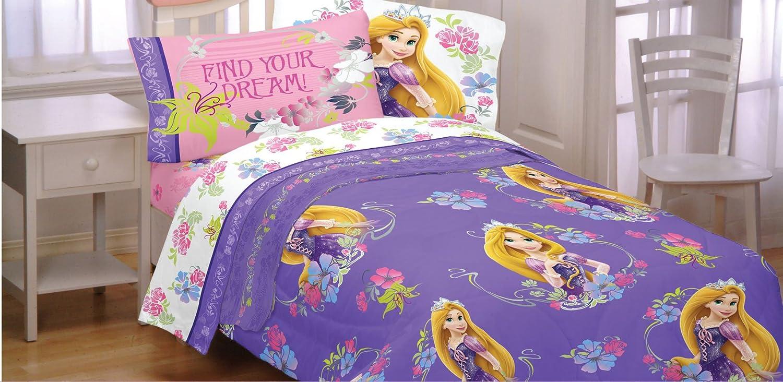 Amazon.com: 4pc Disney Tangled Twin Bedding Set Rapunzel Princess Style  Comforter and Sheet Set: Home & Kitchen