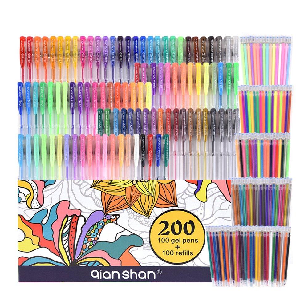 200 Pack Gel Pens set for coloring - 100 Pens PLUS 100 Refills ...
